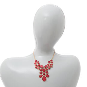 Red Glitter Stone Teardrops Cluster Statement Necklace and Drop Earrings Set,