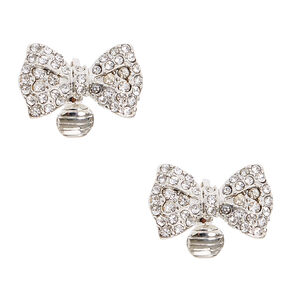 Rhinestone Studded Silver-tone Bow Clip-on Stud Earrings,