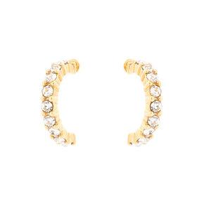 Gold Plated Crystal Half Hoop Earrings,