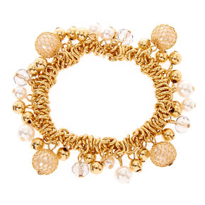 Gold-Tone Pearl and Bead Stretch Bracelet,