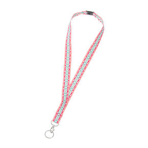 Pink and Mint Embroidered Aztec Print Lanyard Key Ring,