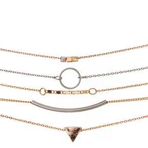 Geometric Mixed Metal Bracelets,