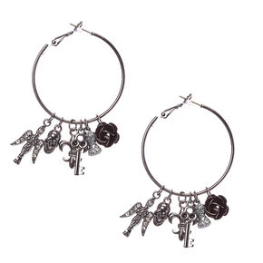 Black Hoop with Gothic Charm Earrings,