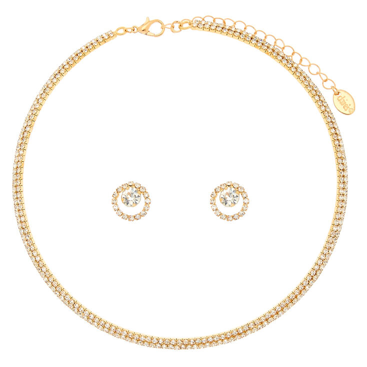 Crystal Choker and Earring Set in Gold,