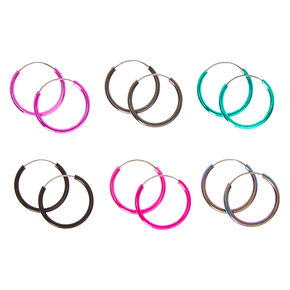Mini Multi-colored Metallic Hoop Earrings,