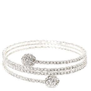 Silver-tone Faux Crystal Fireball Coil Bracelet,