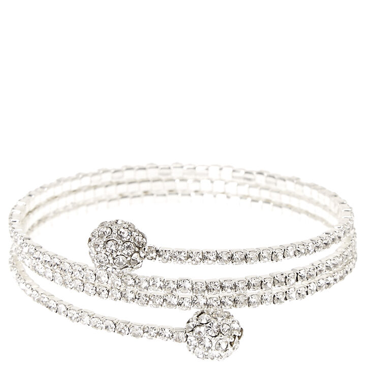 Silver-tone Faux Crystal Fireball Coil Bracelet,