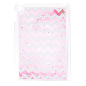 Pink Glitter Chevron Liquid Fill Tablet Case,