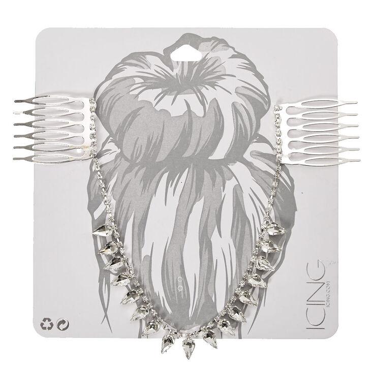 Silver-tone Clear Crystal Teardrop Hair Swag,