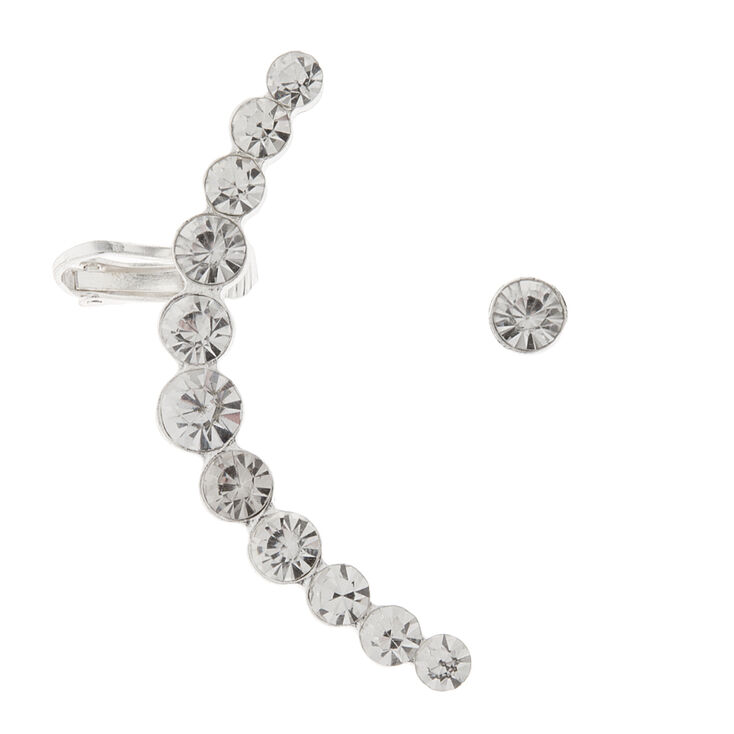 Graduated Round Crystals Ear Cuff with Post back and Stud Earring Set of 2,