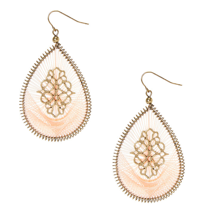 Blush Threaded Gold-tone Open Teardrop Drop Earrings,