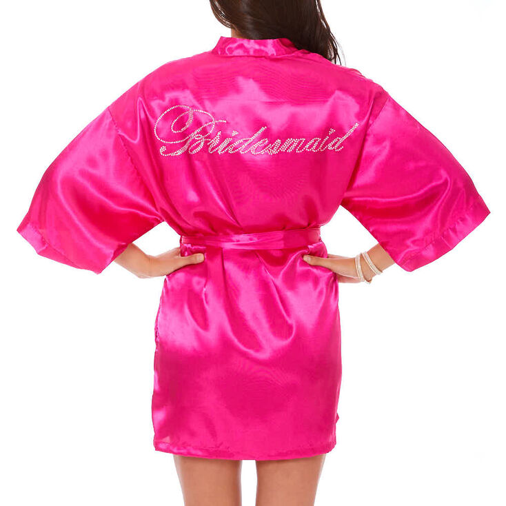 Hot Pink Satin and Crystal Bridesmaid Robe,
