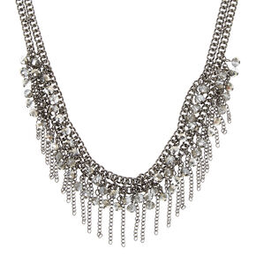 Beaded Fringe Chain Statement Necklace,