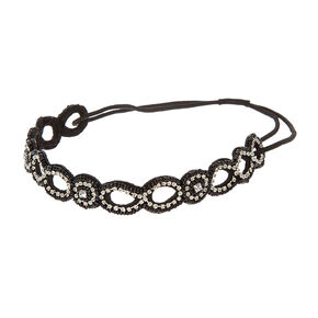 Black Seed Bead and Crystals Open Loop Headwrap,