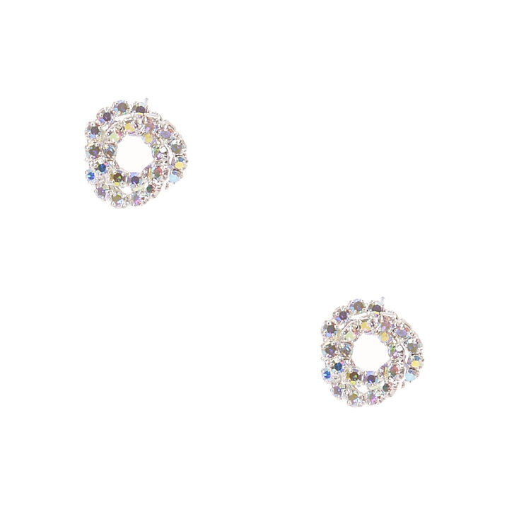 Iridescent Mini Crystal Knot Stud Earrings,