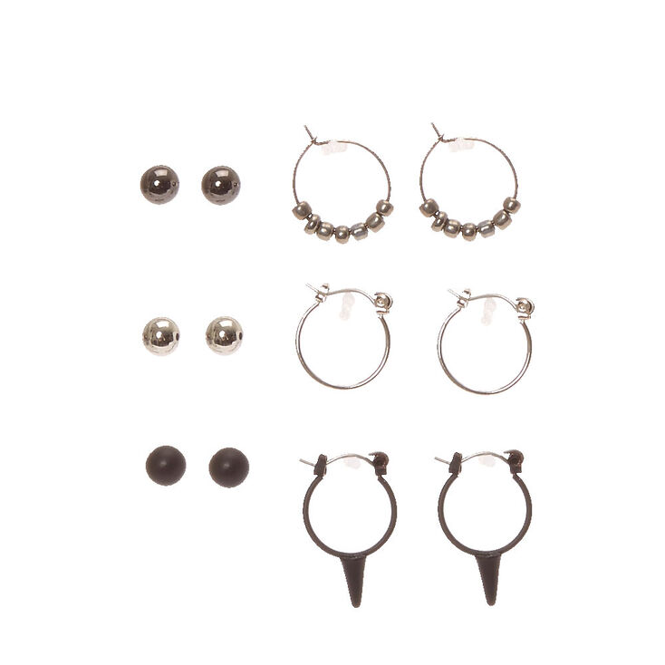 Black and Silver Edgy Stud and Mini Hoop Earrings,