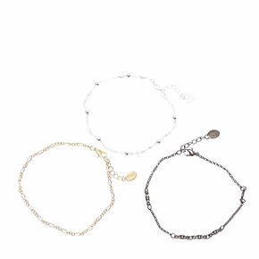 Mixed Metal Toned Anklet Set,