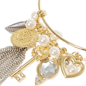 Gold Wire Charm Bracelet,