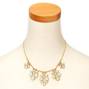 Gold-Tone and Mint Leaf-Style Statement Necklace,
