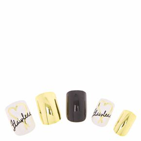 Flawless Gold and Black Instant Nails,