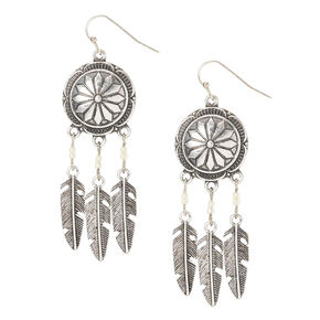 Antique Silver Medallion Dreamcatcher Drop Earrings,