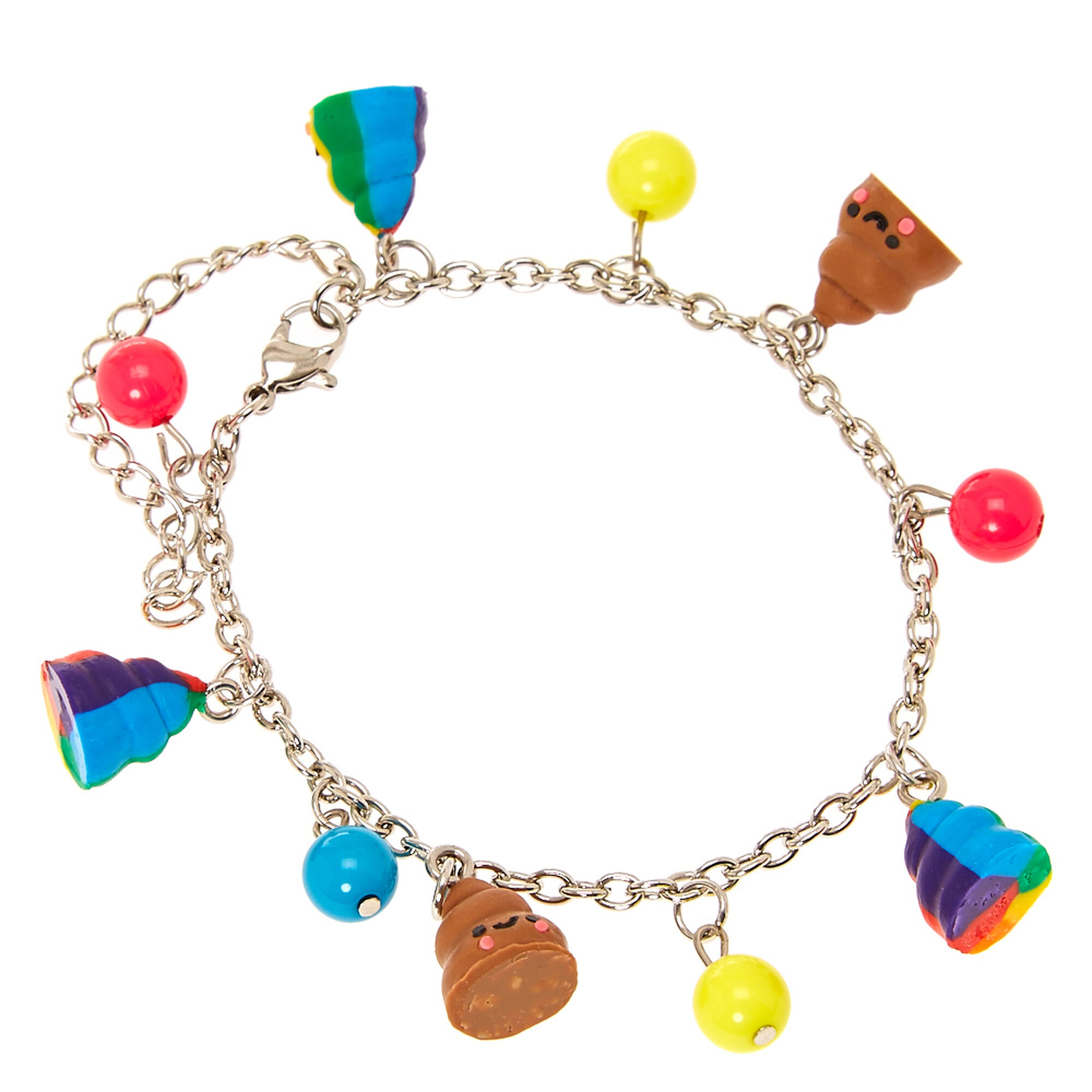Smiling Pile of Poo and Coloured Beads Charm Bracelet