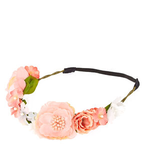 Shimmery Pink Flower Hair Garland,