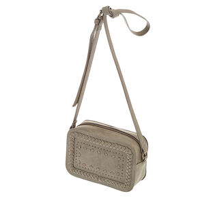 Braided Grey Crossbody Camera Bag,