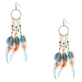 Burnished Gold Open Circle with Wild Feather Chain Fringe,