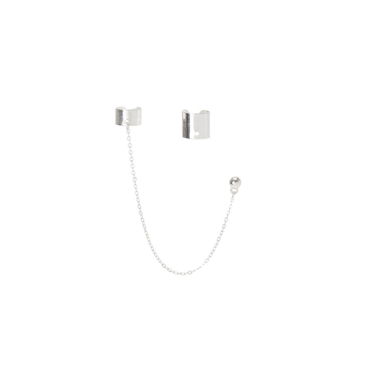 Silver Band and Chain Ear Cuff Set,