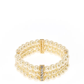 Triple Stand Ivory  Faux Pearl and Gold-tone Bar Bracelet,