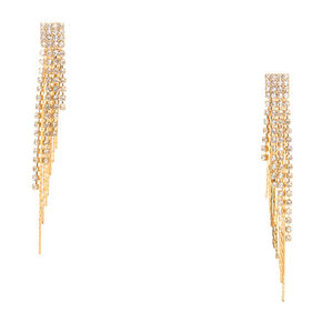 Crystal and Gold Fringe Drop Earrings,