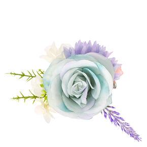 Blue Rose Flower Cluster Hair Clip,