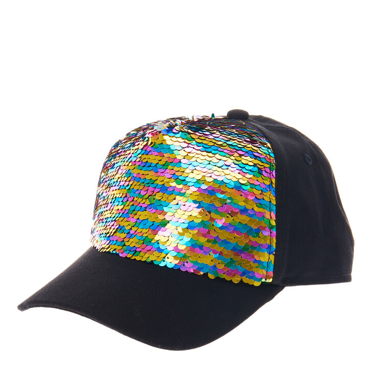 pink sequin baseball cap silver caps uk rainbow reversible