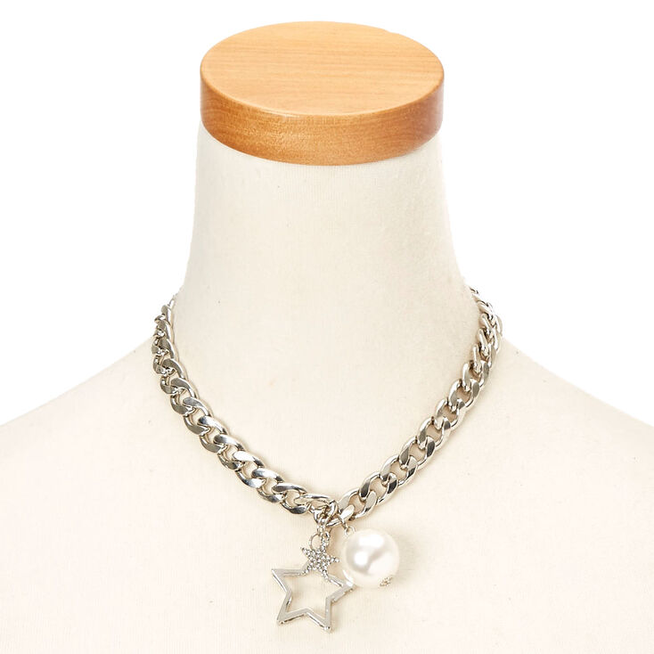 Silver-Tone Chunky Chain Necklace with Star and Pearl Charms,