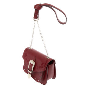 Faux Leather Burgundy Western Buckle Crossbody Bag,