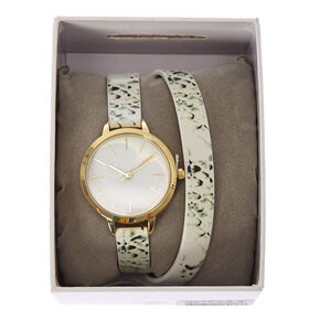Double Wrap White Snake Print Faux Leather Watch,