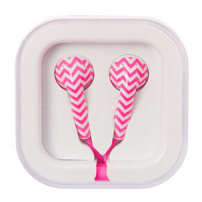 Pink and White Chevron Earbuds,