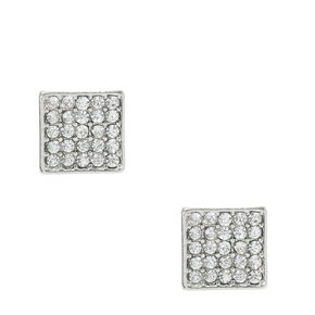 Silver-Tone Glass Stone Studded Square Stud Earrings,
