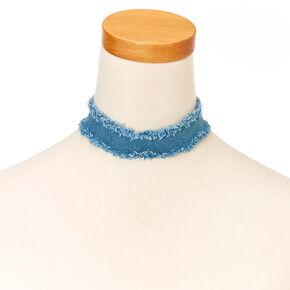 Raw Hem Denim Choker Necklace,