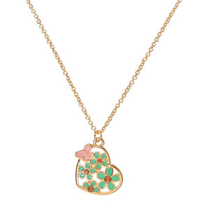 Gold-tone Mint Flower Heart Pendant Necklace,