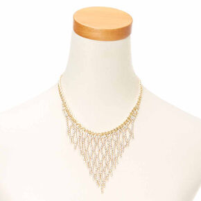 Gold Crystal Fringe Necklace,