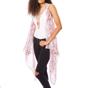 Sheer Floral Pink Shawl,