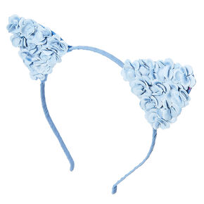 Denim Blue Flower Cat Ears Headband,