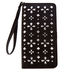 Black and Silver Perforated Tech Wristlet,