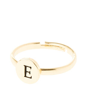 Gold Circle E Initial Letter Ring,