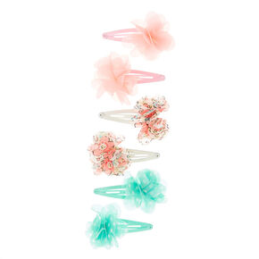 Kids 6 Pack Pastel Chiffon Flowers Snap Hair Clips,