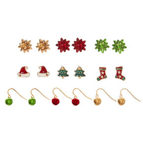 9 Pack Holiday Motif Earring Set,