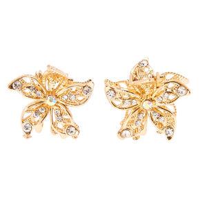 Gold Flower Crystal Hair Claws,