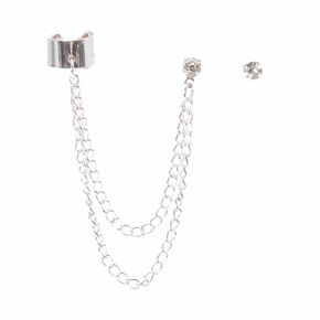 Silver-tone Chain Ear Cuff and Faux Crystal Stud Earring Set,
